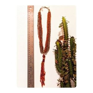 """Jewelry - 16-strings bead red/gold/orange 15"""" long necklace"""